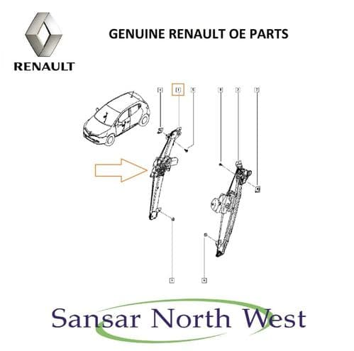 NEW Renault Clio Drivers Front Electric Window Regulator Motor RIGHT Anti Pinch